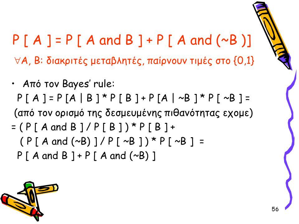 P [ A ] = P [ A and B ] + P [ A and (~B )] Α, Β: διακριτές μεταβλητές, παίρνουν τιμές στο {0,1}